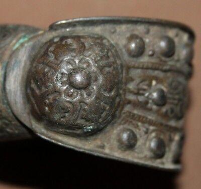 Antique Greek Folk Hand Made Bronze Fertility Crusader Bracelet