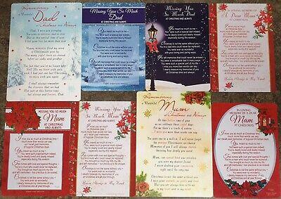 GRAVE MEMORIAL CARDS - Plastic Weatherproof - Various Relations & Christmas 8