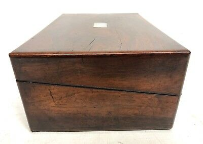 Antique Rosewood & Mother of Pearl Inlaid Writing Box / Slope for Restoration 5