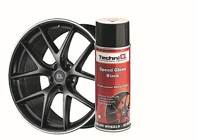 Alloy Wheel Paint Spray SPEED GLOSS BLACK + CLEAR GLOSS LACQUER 6 Cans TECHNIQ 2