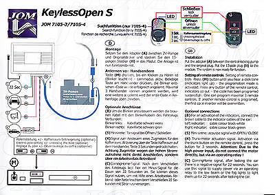Plug Play Funkfernbedienung Zentralverriegelung Universal