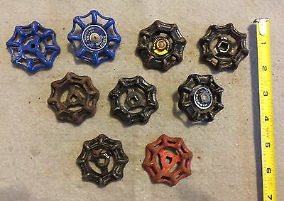 Lot Of 9 Vintage Heavy Metal Water Faucet Handles Knobs Valves Steampunk Lot #44 2