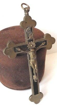 OUTSTANDING VINTAGE BRASS CROSS WITH CRUCIFIXION,EARLY 20th. Century !!! # 462 2