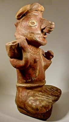 Pre-Columbian NAYARIT SEATED FEMALE W/BOWL, EX: SOTHEBY'S '78 5