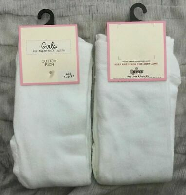 COSY age 7-8 yrs Girls White Super-Soft warm Cotton rich Tights bnwt EX-STORE 7