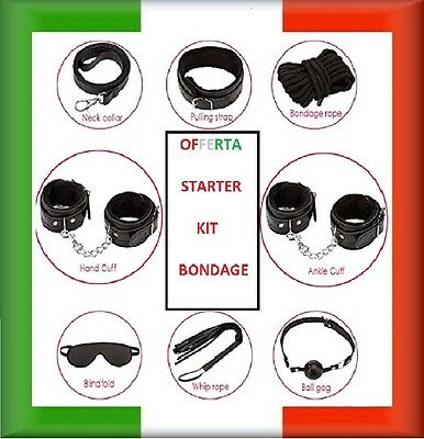 KIT STARTER BDSM SET 8 pz bondage + plug anale erotico 3