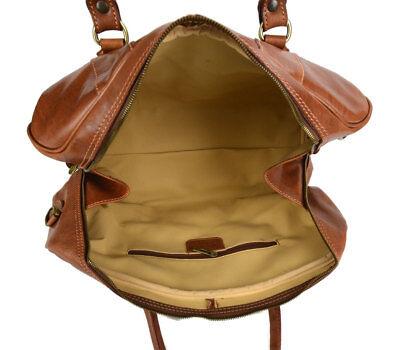 3b11f1bedf ... Borsone uomo donna borsa viaggio con manici e tracolla vera pelle  marrone 4