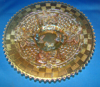 """Northwood Grape & Cable Marigold Carnival Glass 9"""" Plate @23 2"""