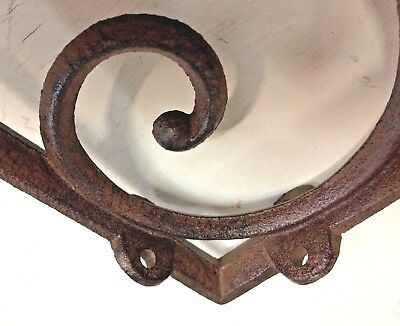 SET OF 2 LARGE RUSTIC  BROWN SCROLL BRACE/BRACKET vintage looking patina finish 6