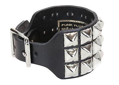 3 Row Pyramid Stud Buckle Bracelet Punk Goth Club Rockabilly Heavy Metal Music