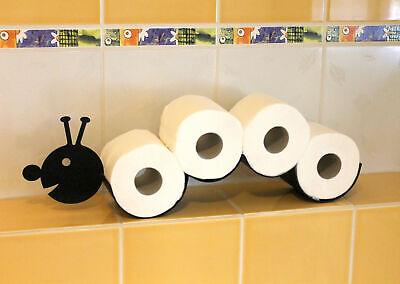 DanDiBo Toilettenpapierhalter Raupe WC Ersatzrollenhalter Toilettenrollenhalter Wandmontage Schwarz Metall Papierhalter Rollenhalter