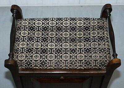 Victorian Mahogany Piano Stool Bauhaus Upholstery Internal Music Storage Drawer 4