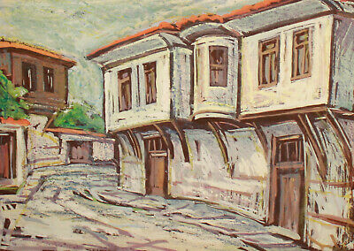 Vintage impressionist pastel painting cityscape village 7