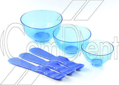 Set of 3 Dental Lab Flexible Alginate Mixing Flexible  Bowls with 3 Spatulas New