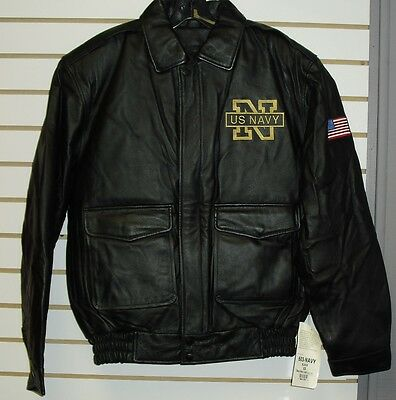 U.S. NAVY Leather Jacket sz Small /XS Black double sided $150 Armed Forces Coat 4