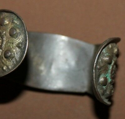 Antique Greek Orthodox folk silver plated fertility bracelet 12