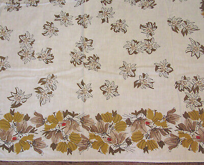 Vintage Cotton Tablecloth VERA Signed Shades of Brown Flowers and Red Ladybugs 3