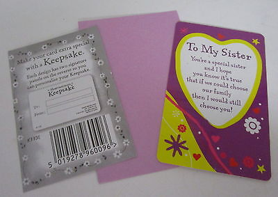 Heartwarmer Keepsake Message Card To My Sister Lovely Verse Birthday Gift 2