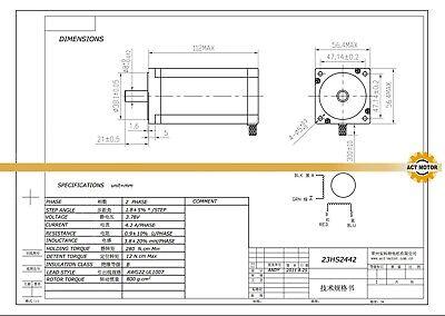 October Sale! 1PC Nema23 Schrittmotor 23HS2442 4.2A 112mm Φ8mm 425oz-in Bipolar 3