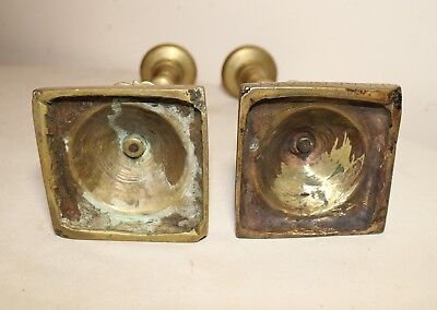 pair of  rare antique solid 18th century 1700's brass candlestick candle holder 8