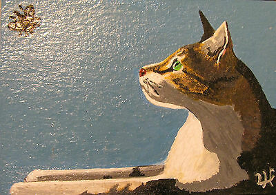 """A669    Original Acrylic Aceo Painting By Ljh        """"Joey""""  Cat  Kitten 6"""