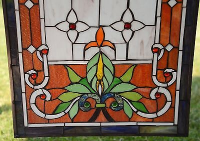 "20"" x 34"" Large Tiffany Style stained glass window panel owl 9"