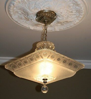 Antique large square frosted glass art deco custom light fixture chandelier 3