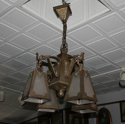 Arts & Crafts mission Hand Hammered hanging slag light glass Chandelier fixture 2