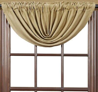 """Burlap Natural Tan 100% Cotton Rustic Country Window Balloon Valance 60"""" W 3"""