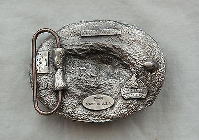 Vintage Siskiyou Buckles Co. Pewter I Don't Dial 911 Gun Belt Buckle Made in USA 3
