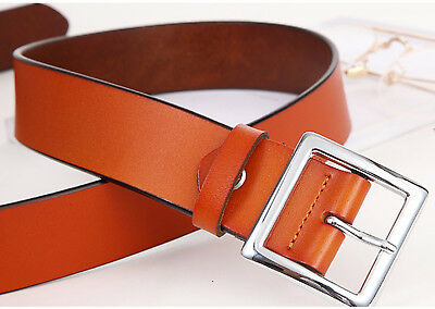 Women's Jean Belt, Classic Square Buckle Handcrafted Genuine Leather Belt 5