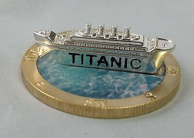 Titanic 3D Silver Ship on Gold Coin Sank 1912 Atlantic Ocean Photo Movie Toy USA 3