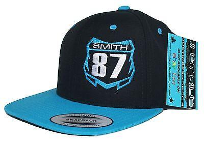 998009470ab ... Custom Motocross Number Plate Hat Flat Bill Snapback Cap Supercross Mx  Moto Race 10