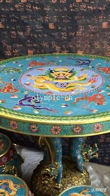 bronze gold copper padding thread weaving enamel cloisonne round table and stool 4