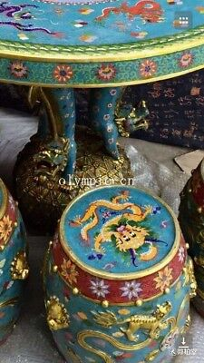 bronze gold copper padding thread weaving enamel cloisonne round table and stool 2