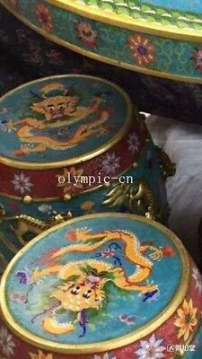 bronze gold copper padding thread weaving enamel cloisonne round table and stool 3