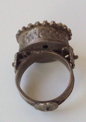 Amazing Large And Huge Post-Medieval Silver Ring With Gold Plated # 763 7