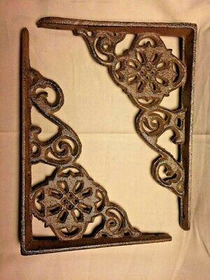 "SET of 2 ANTIQUE BRONZE VICTORIAN FLORAL STYLE cast iron brace bracket corbel 6"" 2"