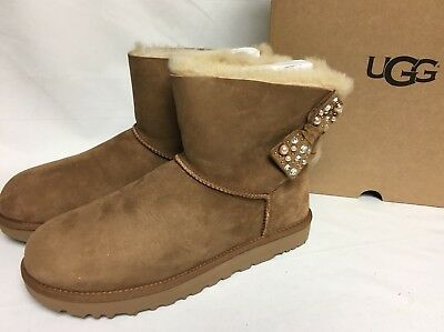 ffb095d04d2 UGG AUSTRALIA MINI Bailey Bow Brilliant Chestnut Shearling Suede 1019725  Bling
