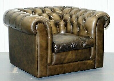 Stunning Pair Of Vintage Chesterfield Leather Club Armchairs Feather Cushions 2