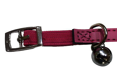 Genuine Leather Collar Cat Kitten Dog Puppy Pet safety release adjustable bell 2