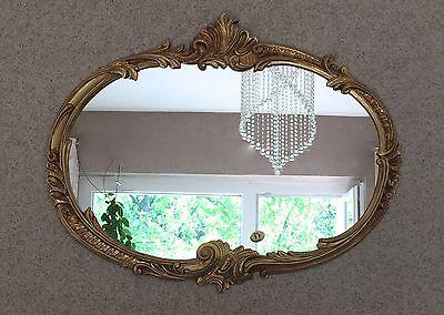 Wandspiegel Barock Oval Antik Gold 52x42 Badspiegel Vintage ovaler Spiegel