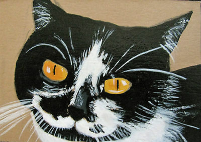 """A669    Original Acrylic Aceo Painting By Ljh        """"Joey""""  Cat  Kitten 3"""
