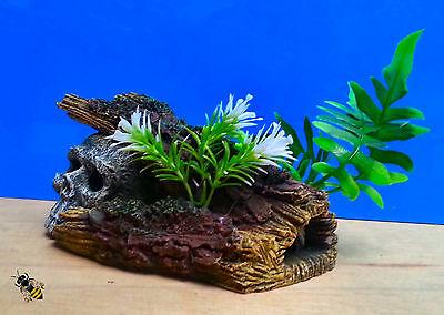 Aquarium Ornament Skull Log Plant Decoration Fish Bowl Tank Goldfish New 3 • EUR 15,26