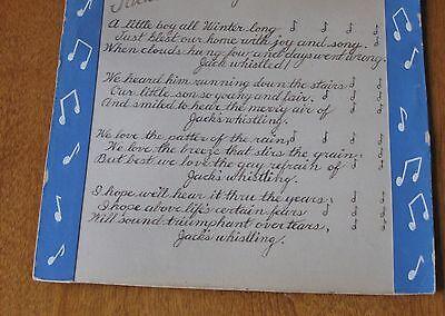 "Antique Art Piece to Frame-Poem ""Jack's Whistling""-80 Yrs. Old-Size 10"" x 10"""