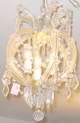 Antique Round 3 Light Crystal Chandelier w/ Unique Prisms, Glass Over Brass Arms 2