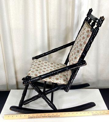 Antique Eastlake Child's Size Rocker Victorian Wooden Doll Rocking Chair Vintage 8