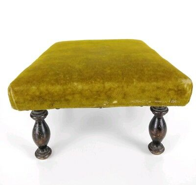 Antique 1800's Victorian Green Velvet Wooden Footstool 3