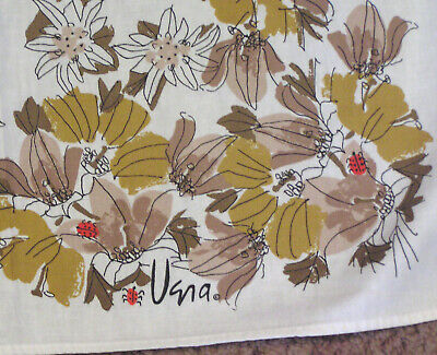 Vintage Cotton Tablecloth VERA Signed Shades of Brown Flowers and Red Ladybugs 2