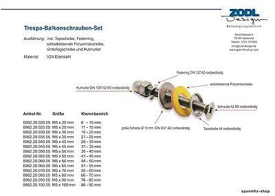 100 Sicherheits-Balkonschrauben-Set M5 x 45 mm V2A TRESPA Edelstahl A2 Schrauben